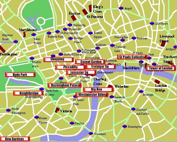London England capital city of UK – Map Of London Tourist Sites